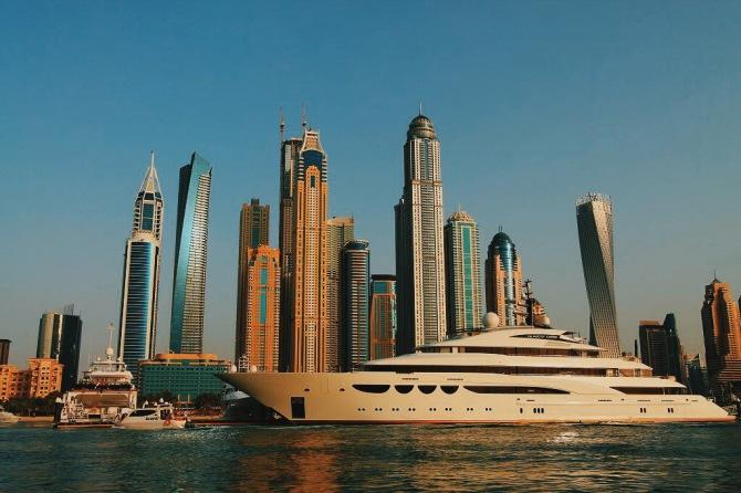 Dubai Marina and yacht