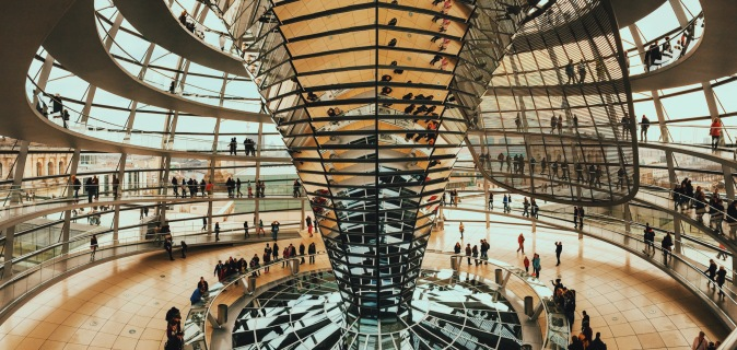 Inside the Reichstag's beautiful glass dome in Berlin