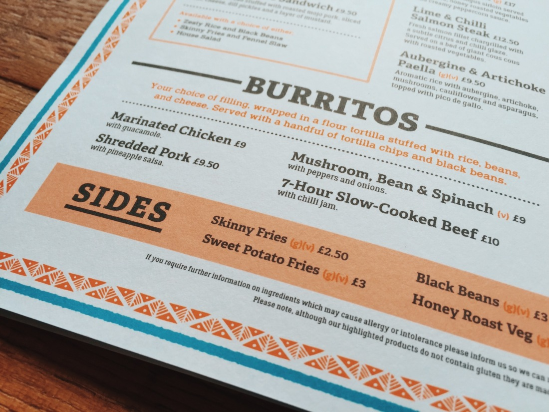 Burritos Menu at Revolución de Cuba Rum Bar and Cantina