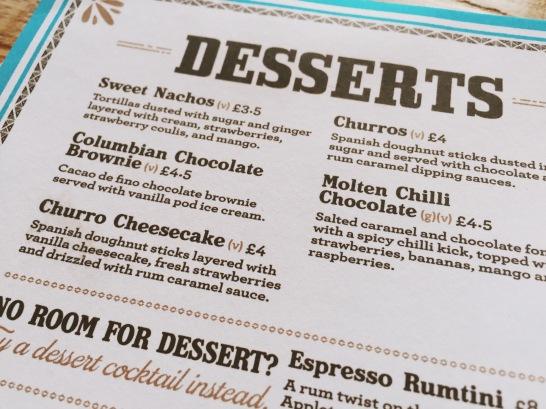 Dessert menu Milton Keynes