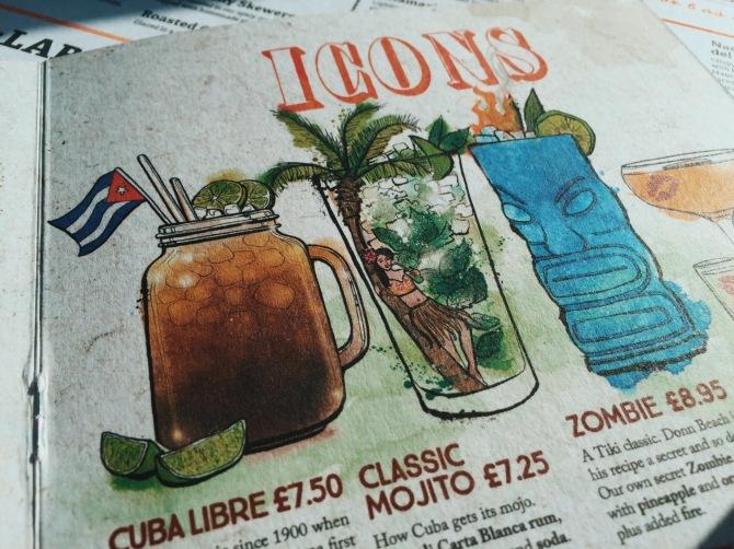 Cocktail menu at Revolución de Cuba