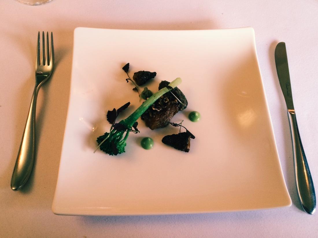 Pork cheek, brocolli and morel mushroom