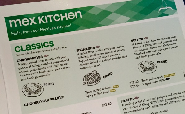 Chimichangas Milton Keynes menu