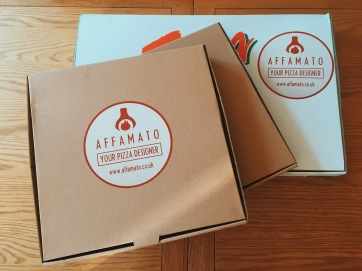 Affamato pizza boxes, large and 12 inch