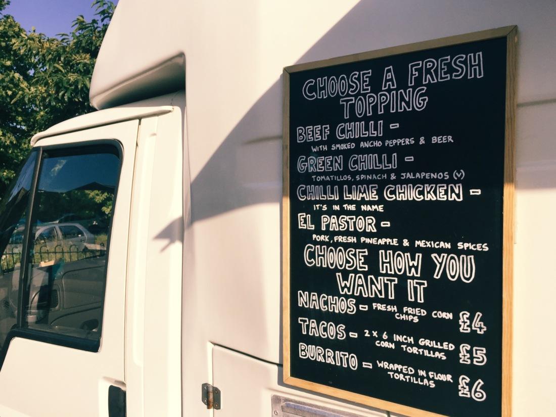 Taco Shack menu and van Milton Keynes