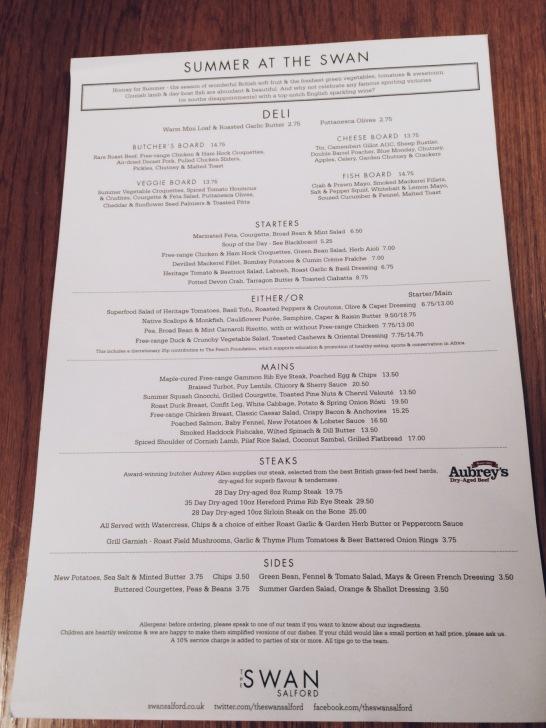 The Swan at Salford food menu