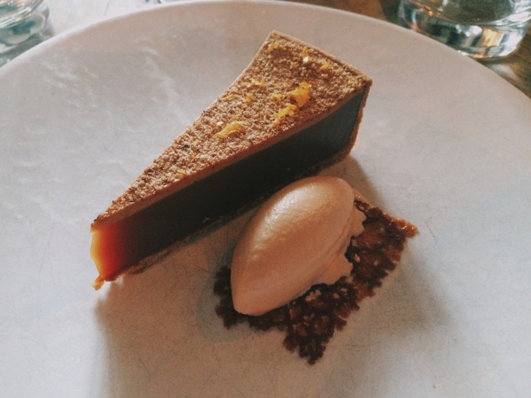 "Milk Toffee Tart with ""Old English Spice "" and Roasted Grapefruit Sorbet"