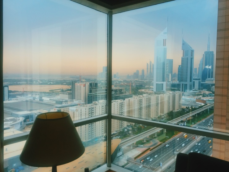 View of dounwtown Dubai from Fairmont's Gold Junior Suite