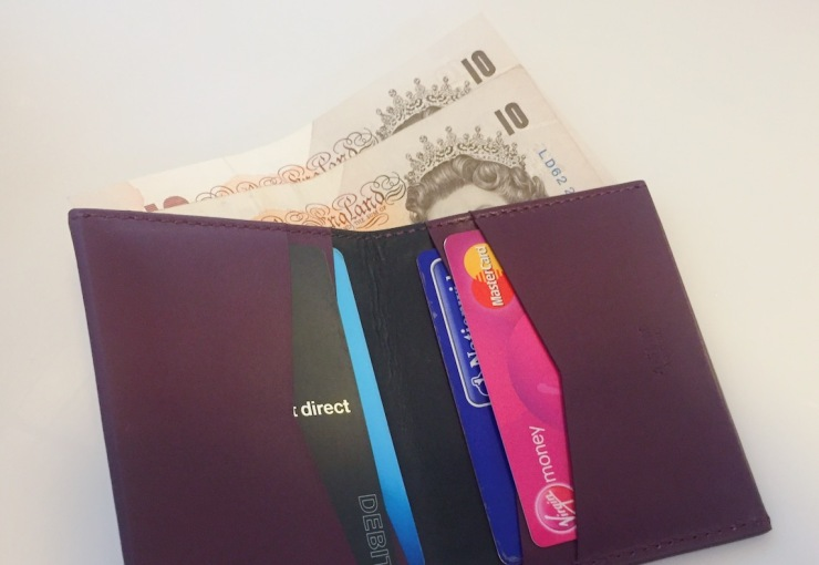A-Slim wallet with notes and cards