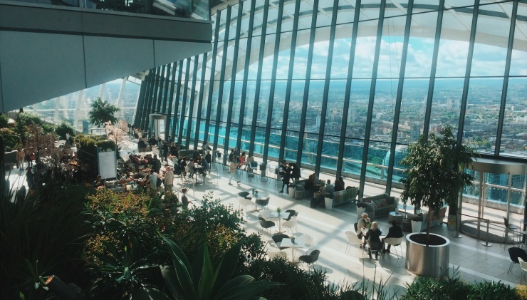 The Sky Garden London rooftop bar, one of the best views of The City over a glass of champagne or cocktail
