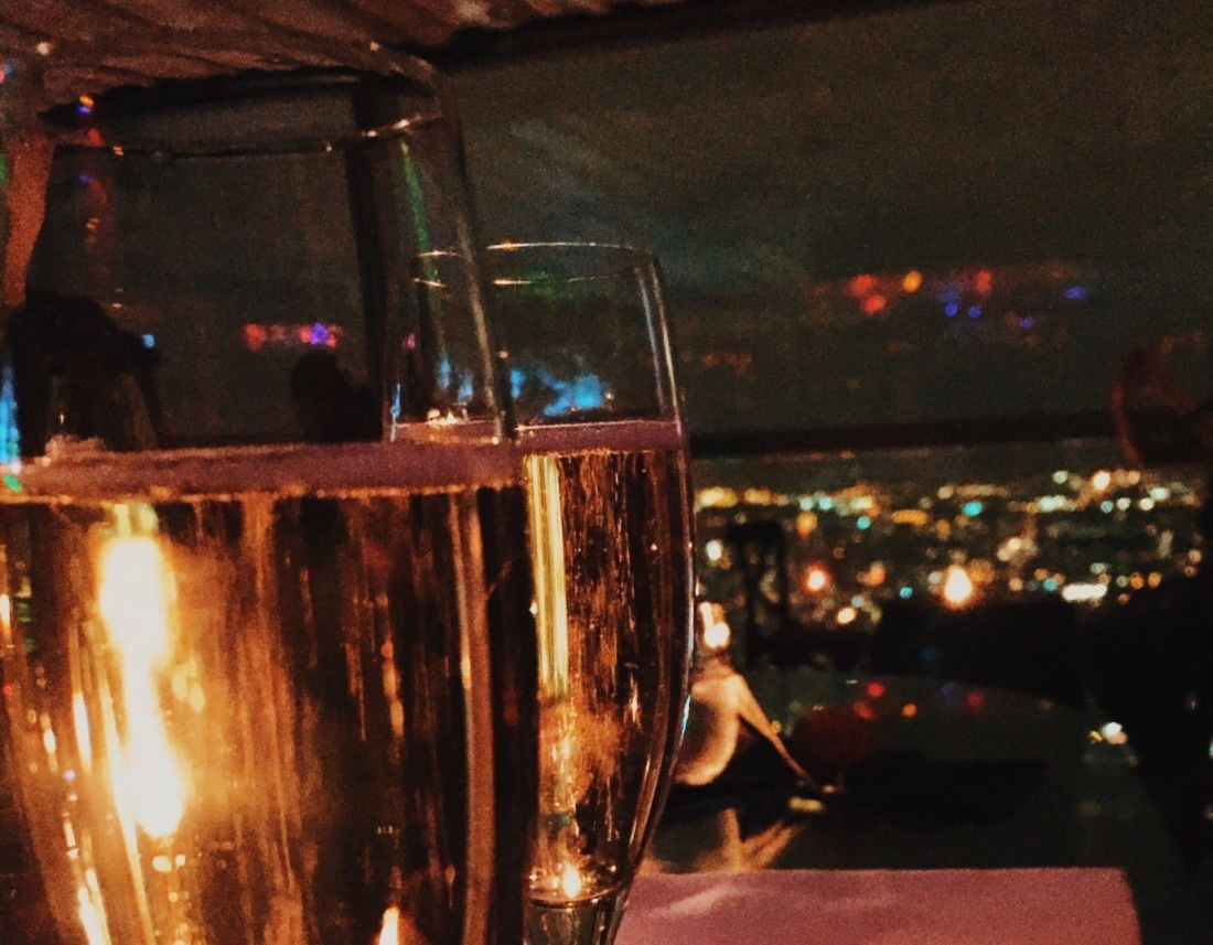 Champagne in Duck and Waffle rooftop bar London