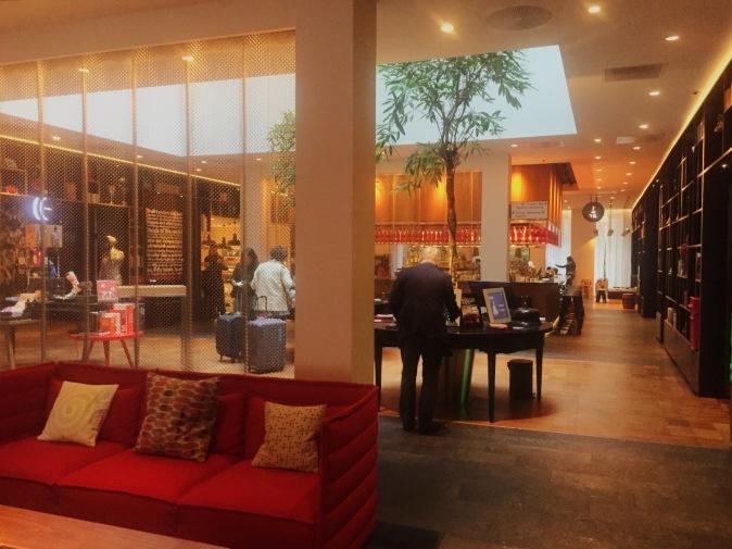 London Citizen M Hotel reception and check in area