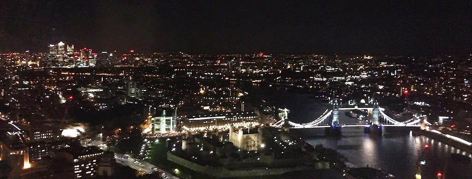 Sky Pod Bar's London view at night