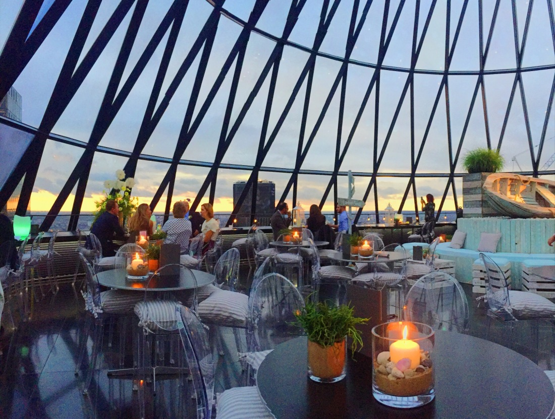 Striking views from the glass dome of The Gherkin