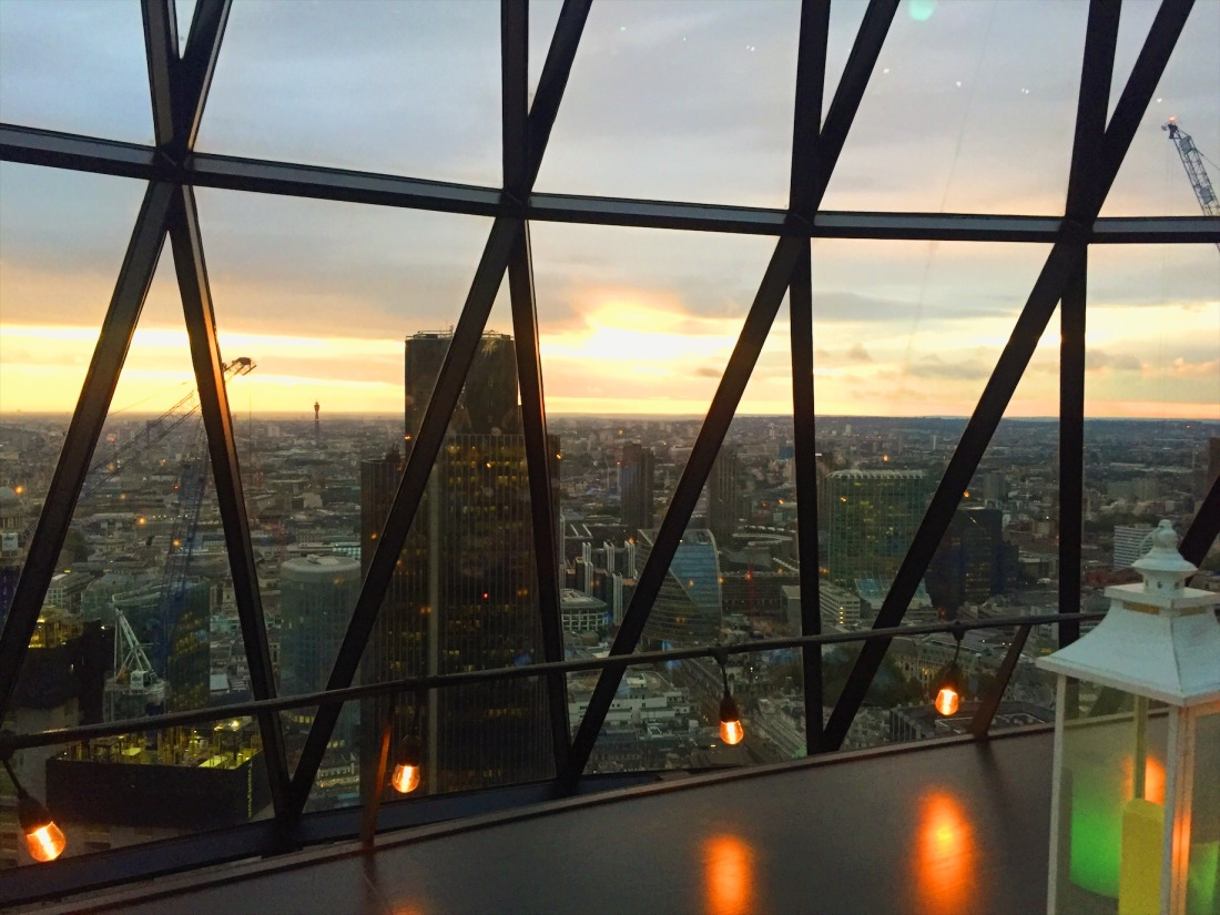 Sunset in Searcys the Gherkin review bar and restaurant