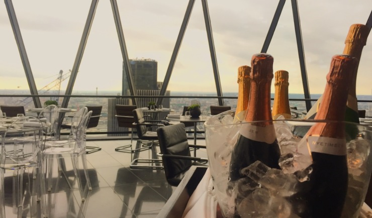 The Gherkin champagne Searcys bar and restaurant