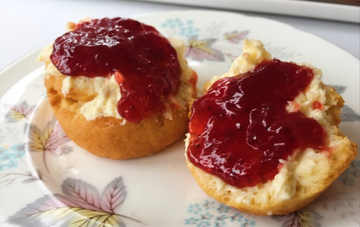 Scones, cream and jam on a London Bus
