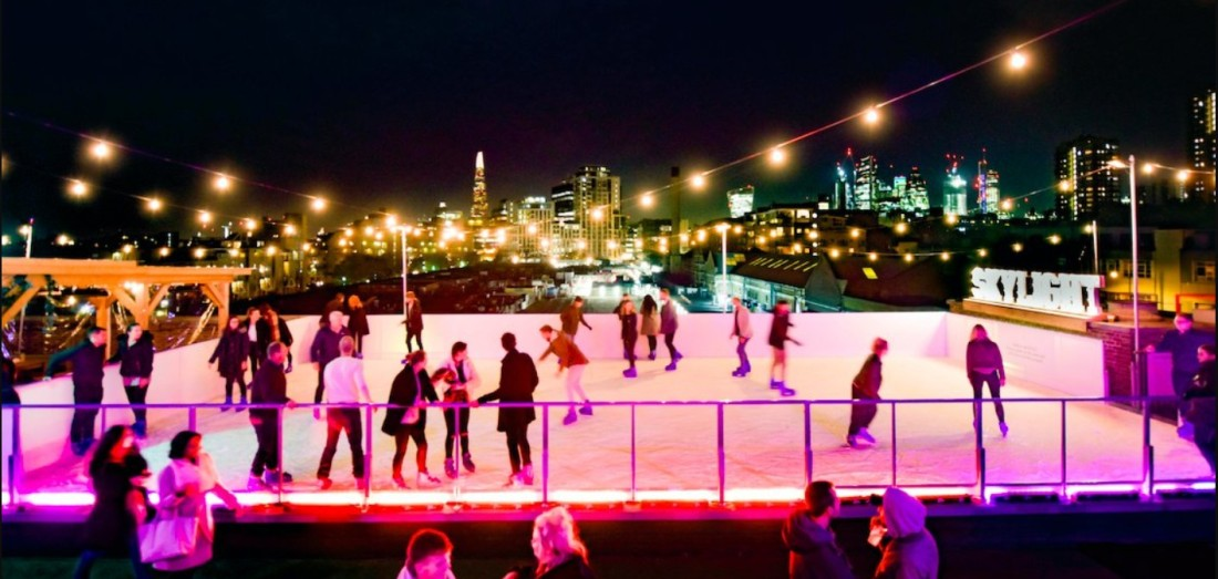 London Tobacco Dock Skylight rooftop bar ice skating