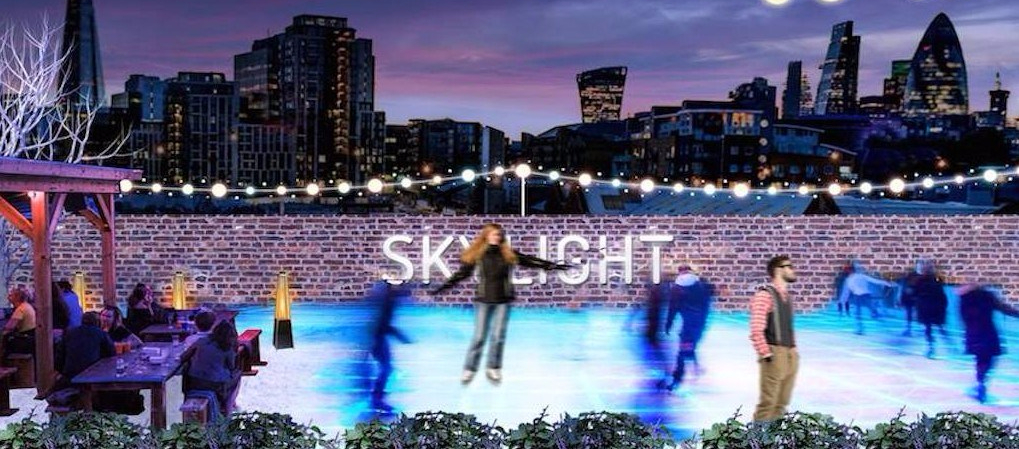 Skylight London rooftop winter ice skating